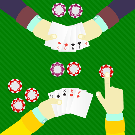 bluff: playing poker at the table with chips, bluff Illustration