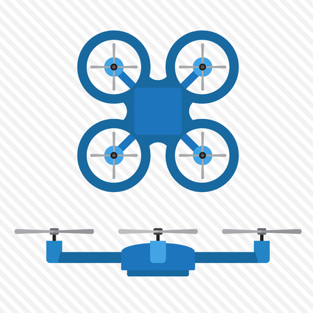 side views: quadrocopter blue top and side views Illustration
