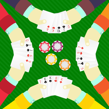 poker: playing poker at the table with chips