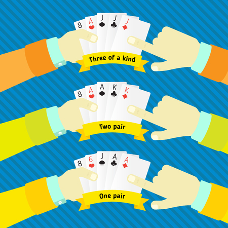 bluff: combination of poker, in the hands of man Illustration