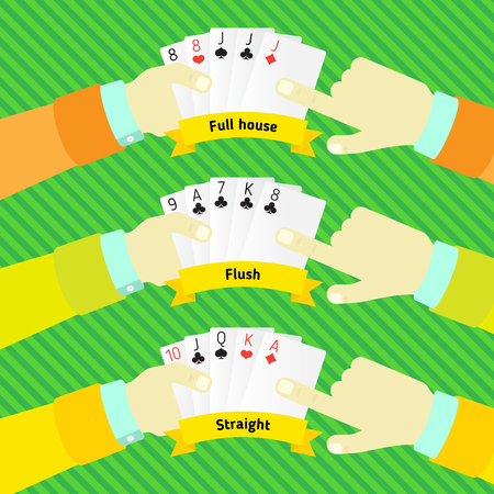 combination: combination of poker, in the hands of man Illustration