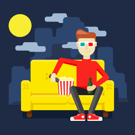 realism: home on the couch watching a movie with popcorn Illustration