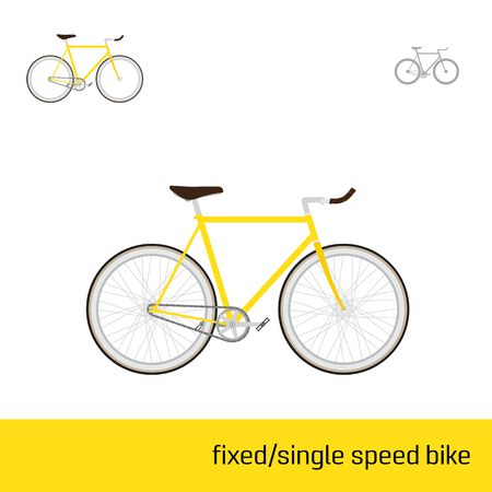 fixed: fixed or single speed bike are three types of icons