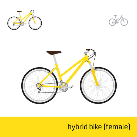 hybrid: hybrid bike female are three types of icons Illustration