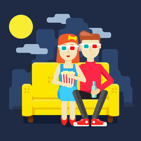 movie screen: man and woman watching a movie together Illustration
