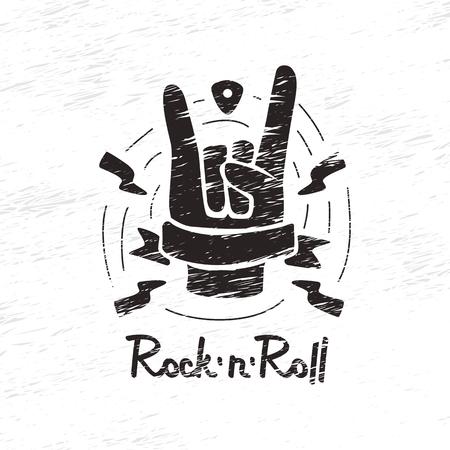 revolt: Print hand-drawn on rock and roll Illustration
