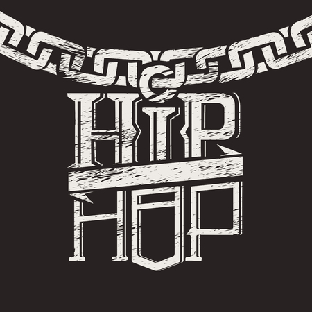 rap music: Print a label on the circuit hip hop Illustration