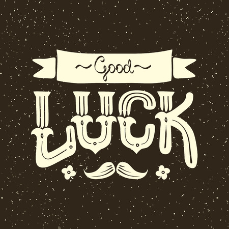 luckiness: lettering with a wish of good luck for prints or postcards