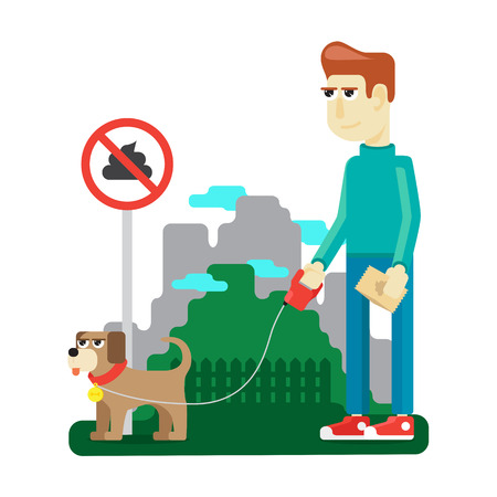 mire: rules dog walking in a city park to preserve the purity Illustration