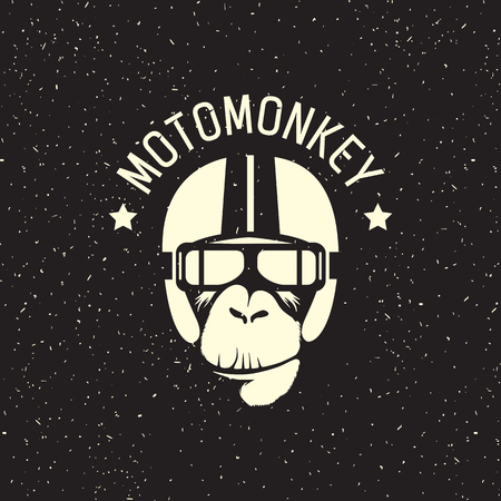 sign monkey wearing a helmet as a pilot or rider Vectores
