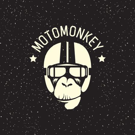 Zeichen Affe, der einen Helm als Pilot oder Fahrer tragen Standard-Bild - 61038172