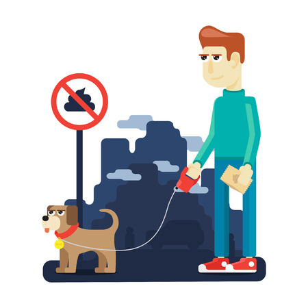 defecation: rules dog walking in the big city to preserve the purity Illustration