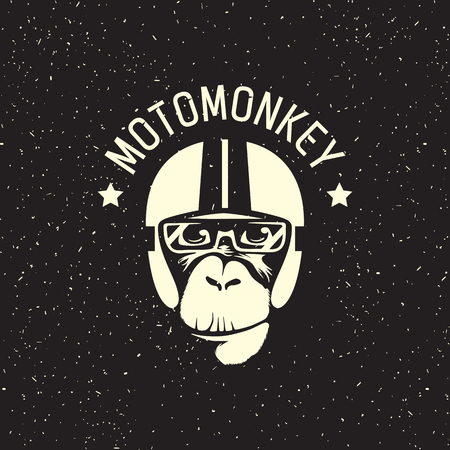 sign monkey wearing a helmet as a pilot or rider 矢量图片