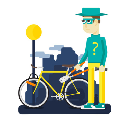 bicycle theft on the streets a big city Illustration