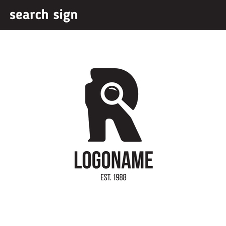 logo with the letter r, silhouette of a man to find a magnifying glass
