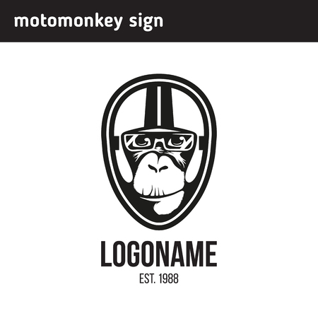 sign monkey wearing a helmet as a pilot or rider Illustration