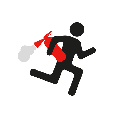 Warning sign man running with a fire extinguisher. Illustration