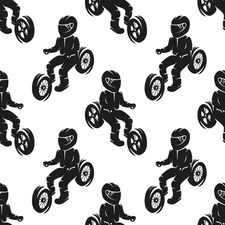 Seamless pattern biker getting ready for motor-season.