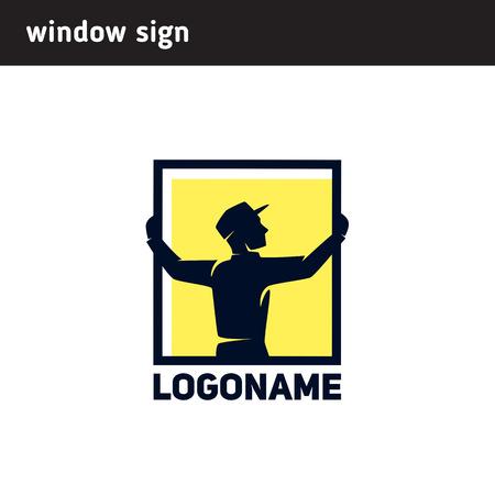 Sign worker installs a window frame Ilustração