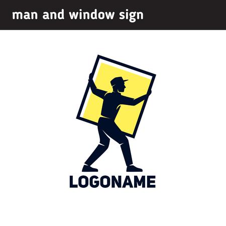Sign worker installs a window frame Illustration