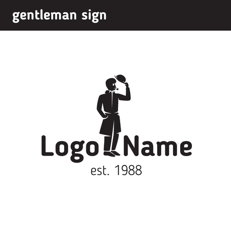 The logo of a mustachioed gentleman in a hat with a pipe Illustration