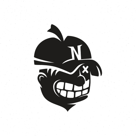 Illustration of crazy nut in cap, sign for logo