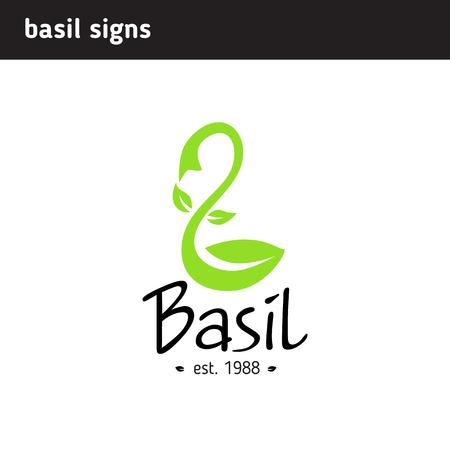 Logo basil leaf in the form of a scoop for a restaurant or shop Illustration