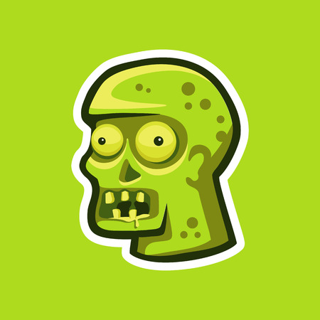 Illustration of a zombie head in the form of a sticker. Illustration