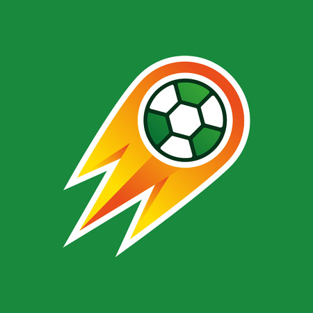 ignite: Bright illustration, soccer ball on fire on green background.