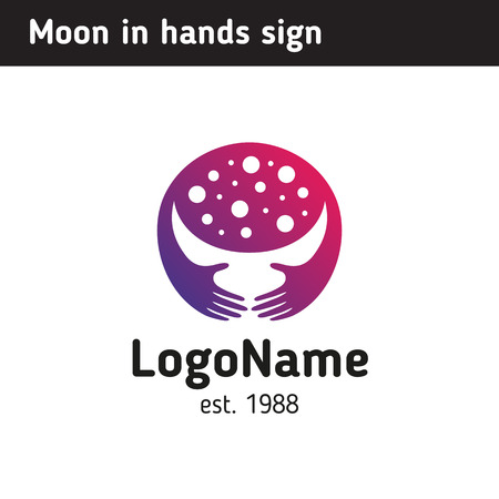Logo template or illustration moon in hands, young month Illustration
