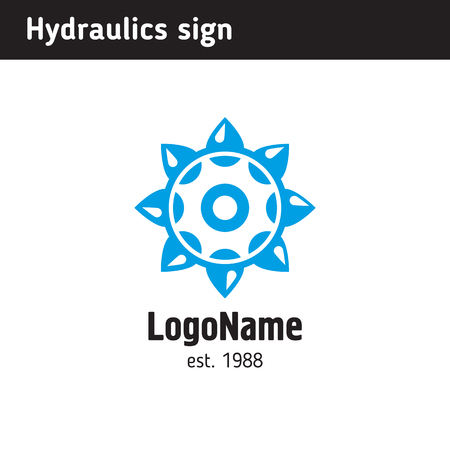 Logo template for a company engaged in hydraulics or water-related mechanisms Ilustração
