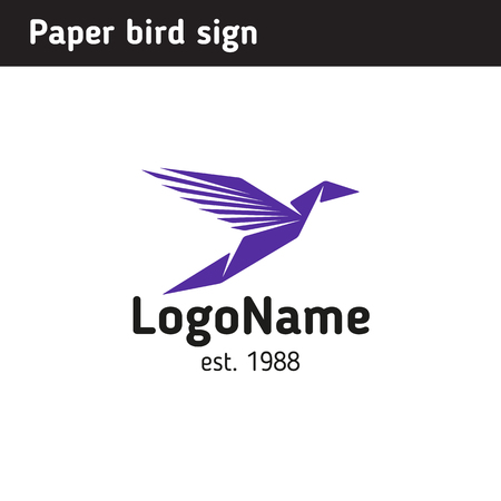 template logo in the form of paper birds is universal for any