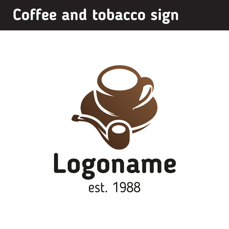 brand identity: Logo template for a coffee shop and a tobacco store, a cup of coffee with a smoking pipe