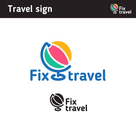 round: Logo in the form of a globe, for a travel company or for a company engaged in high technology, a network Illustration