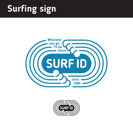 curve: logo for surf school or surf hire, in the form of a wave Illustration
