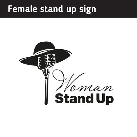 Logo pour le stand des femmes, chapeau féminin sur le microphone Banque d'images - 87483720