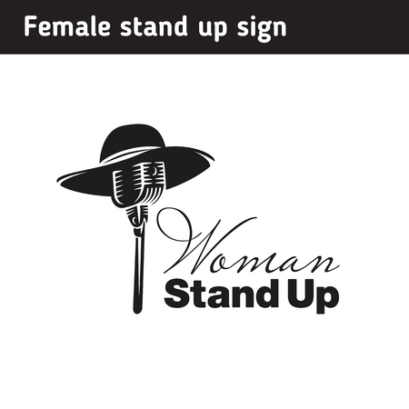 Logo for women's stand, female hat on microphone Vectores