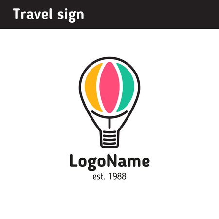 A sign in the form of a balloon for the company of organizing travel, a touristic company