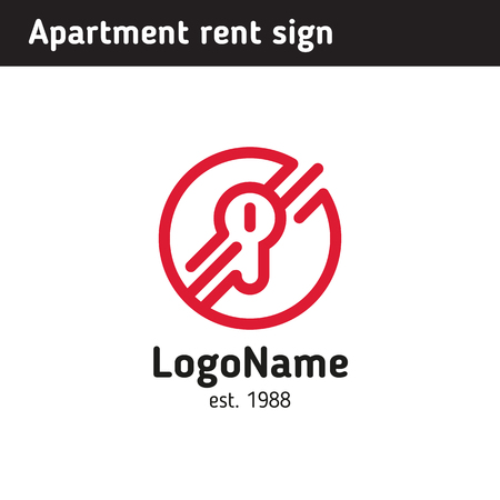 Sign in the form of a keyhole, for rental housing or hotel