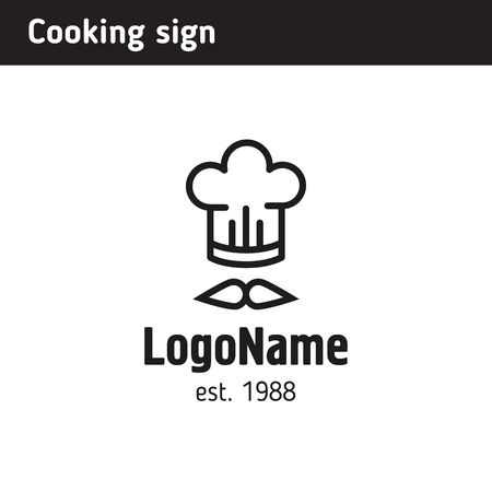 Logo cook in a cap, for a fast food cafe or culinary courses