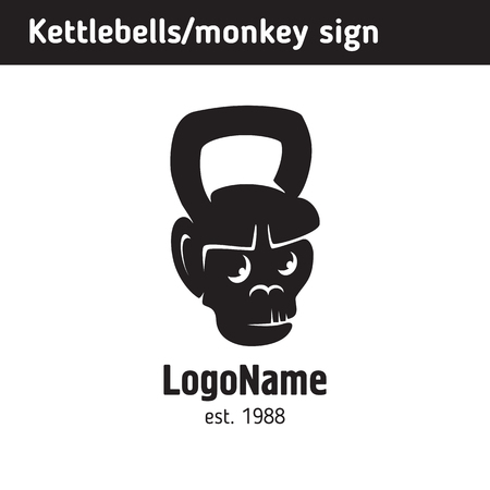 logo in the form of a fun weights, kettlebell of a monkeys face