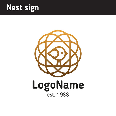 Logo of a nest with a bird, an area of education or a family Illustration