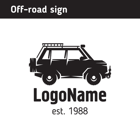 Logo off road vehicle, for travel and expeditions