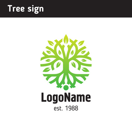 Sign in the form of a tree with roots and foliage Ilustracja