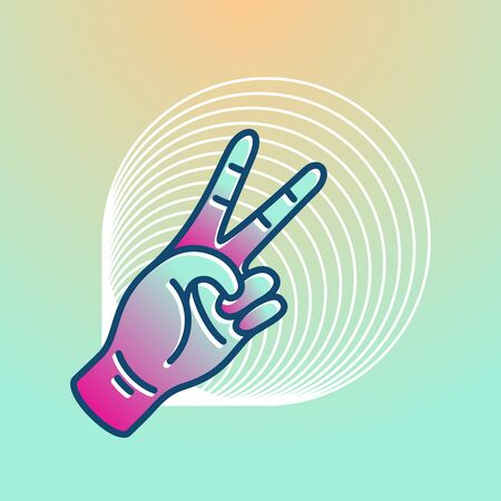 Illustration in modern style, hand peace