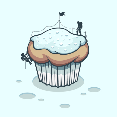 Illustration mountaineers who stormed a winter cake