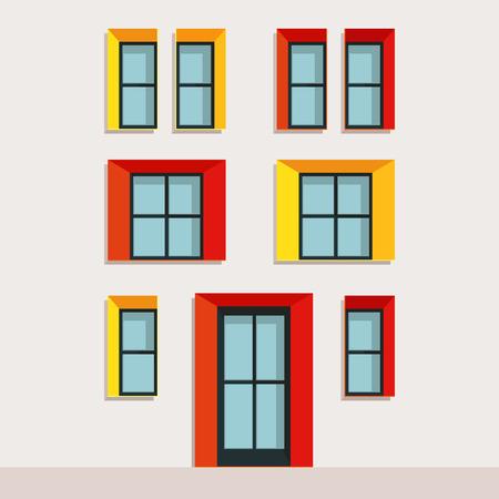 Illustration modern facade of a building, bright facade.