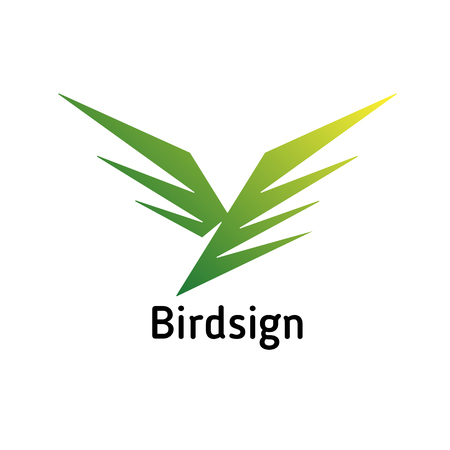 Simple sign in the form of a diving bird, impetuous Illustration