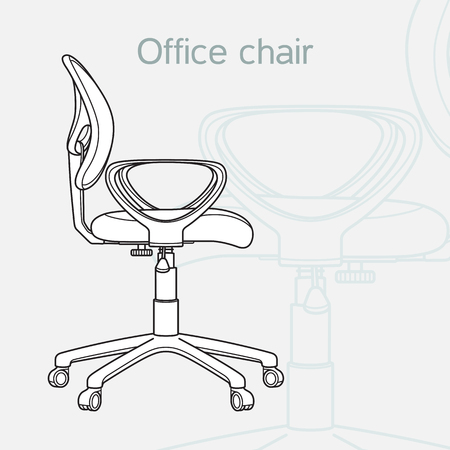Office chair drawn in a schematic style, line art Vectores