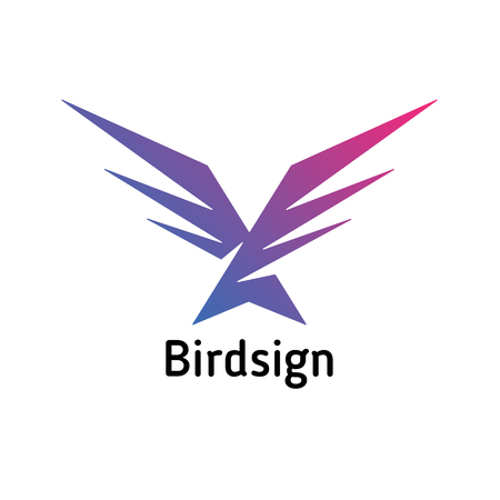 A simple sign in the form of a diving bird, impetuous
